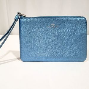 Coach Baby Blue Metallic Wristlet Bag